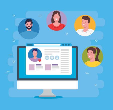 social media concept, group of people communicating by computer vector illustration design Illusztráció