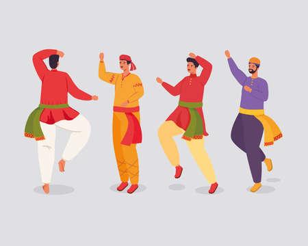 group of men indian with clothes traditional dancing vector illustration design Illusztráció