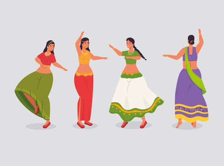 group of women indian with clothes traditional dancing vector illustration design Illusztráció