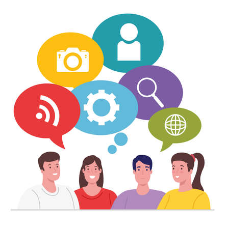 group people thinking of social media icons vector illustration design