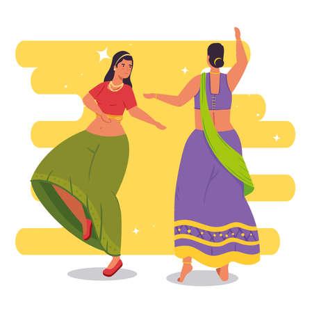 women indian with clothes traditional dancing vector illustration design Illusztráció