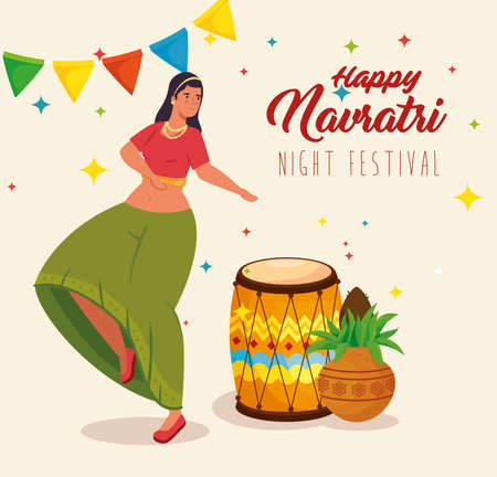 happy navratri, night festival celebration poster with woman dancing and decoration vector illustration design