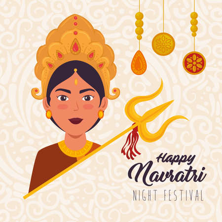 happy navratri celebration poster with face of maa durga with decoration vector illustration design