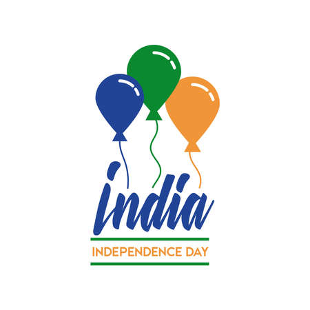 india independence day celebration with balloons helium flat style vector illustration design