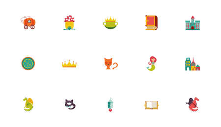 bundle of fairytales set icons vector illustration design
