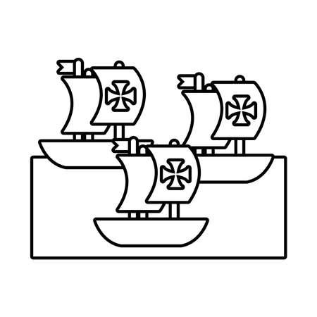 caravels ships columbus day line style vector illustration design