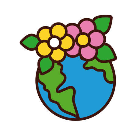world planet earth with flowers line and fill style vector illustration design Иллюстрация