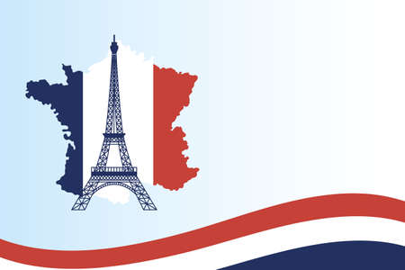 france eiffel tower with flag map design, Happy bastille day and french theme Vector illustration 向量圖像