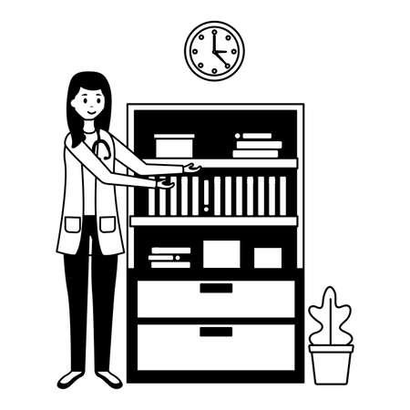 doctor woman room consultation bookshelf clock plant vector illustration