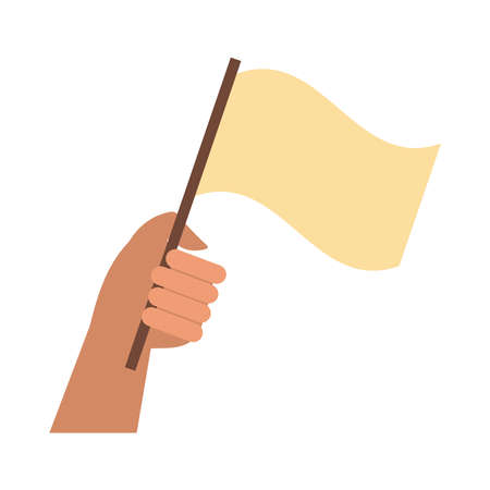 hand human with flag protest flat style icon vector illustration design