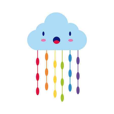 cloud with rain drops hanging comic character flat style vector illustration design