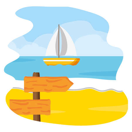 beach seacoast sail boat wooden guide sign vector illustration