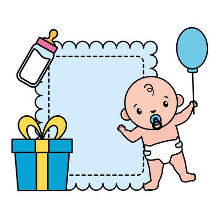 cute little baby boy in gift box and milk botttle vector illustration design