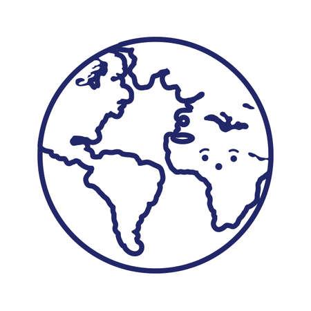 world planet earth line style vector illustration design