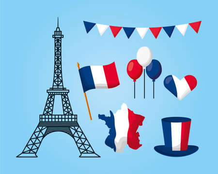 eiffel tower flag hat map balloons heart france happy bastille day vector illustration