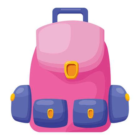 backpack supply school on white background vector illustration