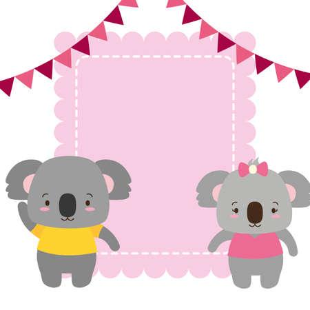 cute couple koalas animals greeting card vector illustration