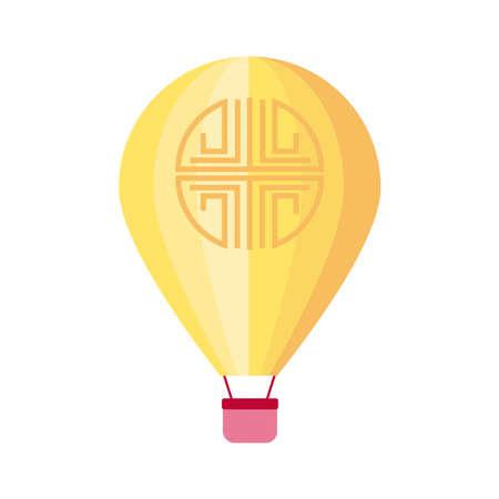mid autumn celebration with hot air balloon flat style icon vector illustration design