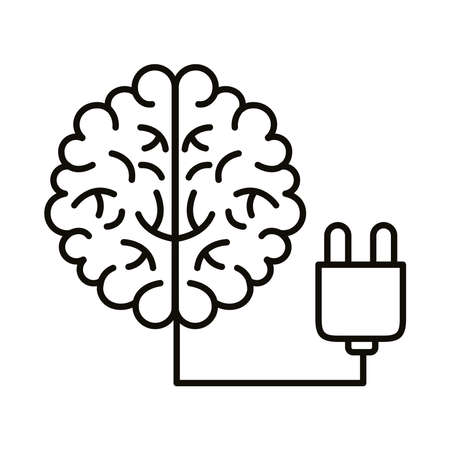 brain human with wire connector line style icon vector illustration design 矢量图像