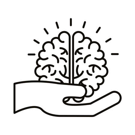 hand lifting brain human line style icon vector illustration design