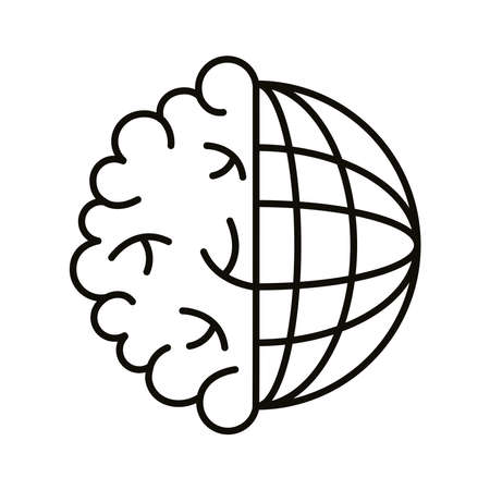 brain human with sphere planet line style icon vector illustration design