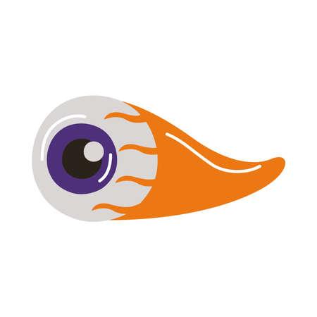 halloween eye with blood flat style icon vector illustration design