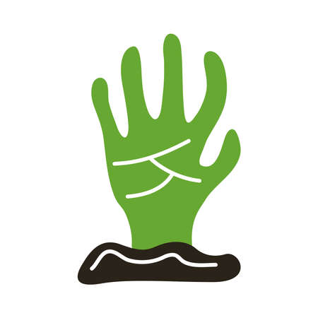 death hand out flat style icon vector illustration design