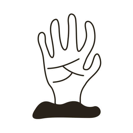 death hand out line style icon vector illustration design