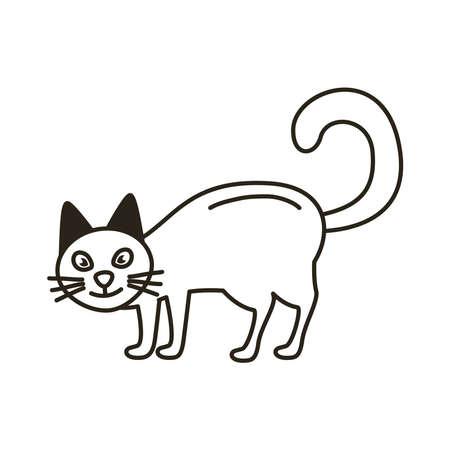 halloween cat black line style icon vector illustration design