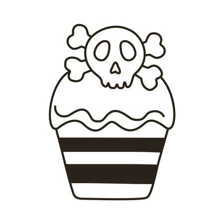 halloween cupcake with skull line style icon vector illustration design