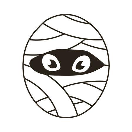 mummy halloween character line style icon vector illustration design