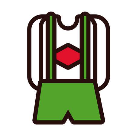 masculine costume oktoberfest line and fill style vector illustration design Ilustração