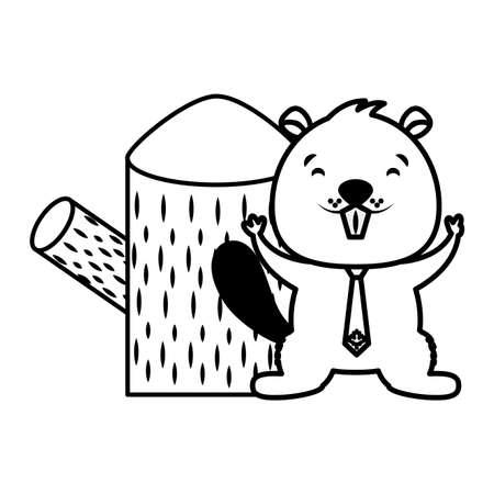 beaver and tree stump on white background vector illustration