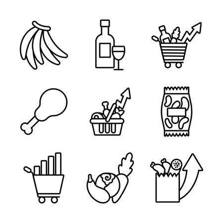 bundle of commodity basket icons vector illustration design