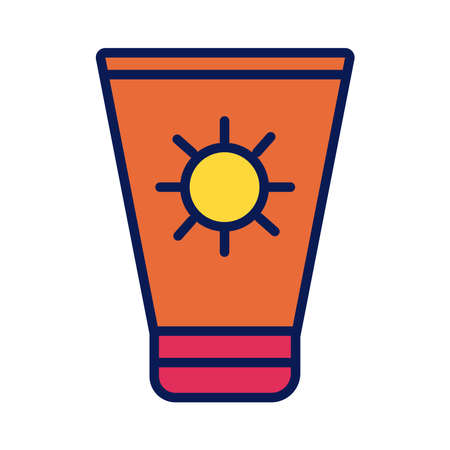 sun blocker cream product line and fill style icon vector illustration design Illustration