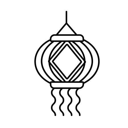 diwali paper lamp hanging decoration line style icon vector illustration design