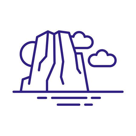 big rock landscape scene line style vector illustration design Illustration