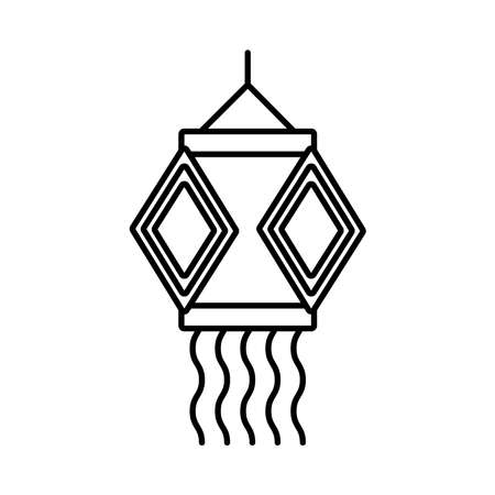 diwali lamp hanging decoration line style icon vector illustration design