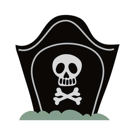 cemetery tomb with skull flat style icon vector illustration design Vector Illustratie