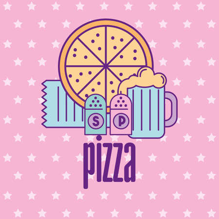 Fast food and pizza design, restaurant menu dinner lunch cooking meal and tasty theme Vector illustration