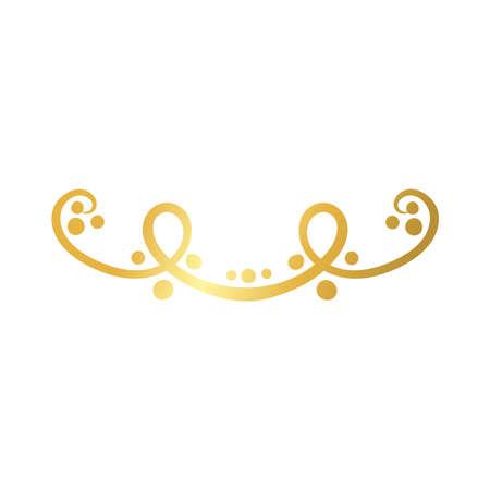 elegant border frame with leafs decoration golden gradient style icon vector illustration design
