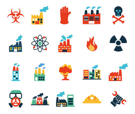 Factory and industry icon set design, Plant building industrial construction technology and manufacturing theme Vector illustration