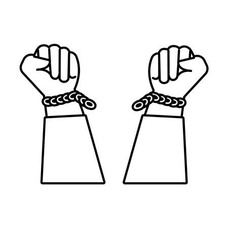 hands human broken slave chains line style icon vector illustration design Vectores