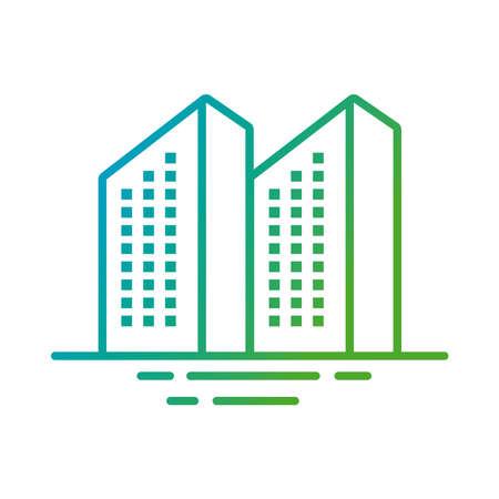 buildings constructions facades city gradient style icons vector illustration design