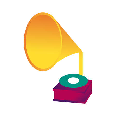gramophone music player line and fill style icon vector illustration design Ilustración de vector