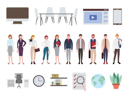 business people and office equipment icons vector illustration design