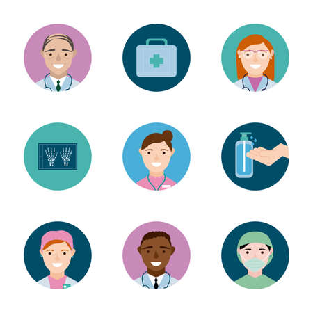 bundle of medical staff set icons vector illustration design