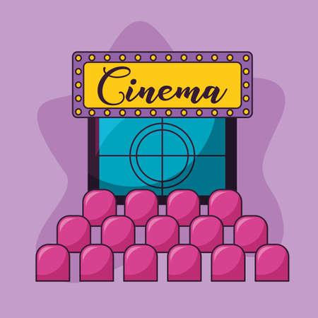 auditorium seats and billboard cinema movie vector illustration