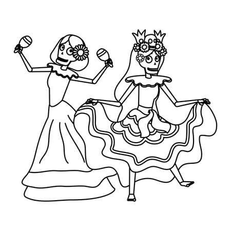 mexican katrinas skulls playing maracas comic characters vector illustration design