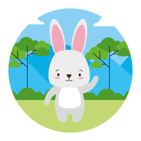 cute rabbit animal landscape natural vector illustration